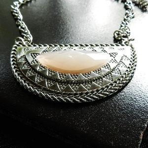 Soft Pink & Silver Half Circle Pendant Necklace